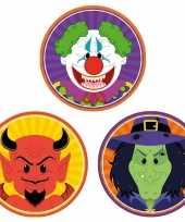 30x horror halloween versiering decoratie bierviltjes duiveltje heksje horror clowntje van karton