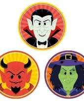 30x horror halloween versiering decoratie bierviltjes duiveltje heksje vampiertje van karton