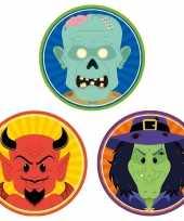 30x horror halloween versiering decoratie bierviltjes duiveltje heksje zombietje van karton