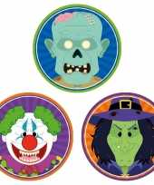 30x horror halloween versiering decoratie bierviltjes horror clowntje heksje zombietje van karton