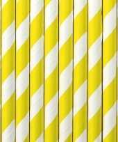 30x papieren drinkrietjes geel wit gestreept