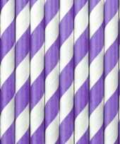 30x papieren drinkrietjes lila paars wit gestreept