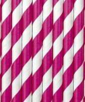30x papieren drinkrietjes roze wit gestreept