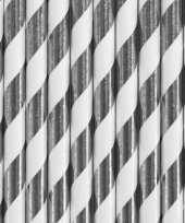 30x papieren drinkrietjes zilver wit gestreept