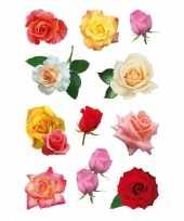 33x bloemen stickertjes met rozen voor kinderen