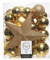 33x gouden kerstballen 5 6 8 cm glanzende matte glitter kunststof plastic kerstversiering