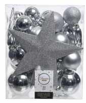 33x zilveren kerstballen 5 6 8 cm glanzende matte glitter kunststof plastic kerstversiering