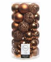 36x koperbruine kerstboomballen set 6 cm