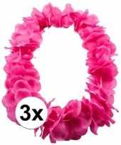 3x bloemenkrans ketting roze
