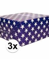 3x cadeaupapier blauw met sterren 70x200 cm