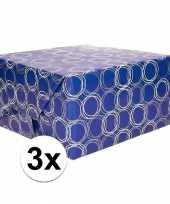 3x cadeaupapier donkerlauw met patroon 70x200 cm
