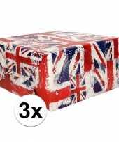 3x cadeaupapier union jack 70x200 cm