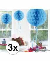 3x decoratiebollen baby blauw 30 cm