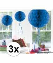 3x decoratiebollen blauw 30 cm