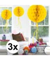3x decoratiebollen geel 30 cm