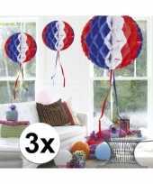 3x decoratiebollen in amerikaanse kleuren