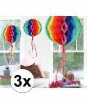 3x decoratiebollen in regenboog kleuren