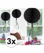 3x decoratiebollen zwart 30 cm