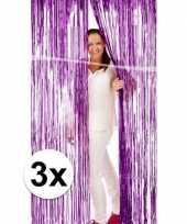 3x deurversiering deco gordijn van paars folie