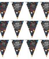 3x feestartikelen geslaagd vlaggenlijntje slingertje 10 m krijtbord hashtags