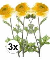 3x gele ranonkel 45 cm kunstplant takken