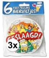 3x geslaagd bierviltjes gekleurd 6 stuks