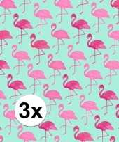 3x kadopapier met flamingos type 2 70 x 200 cm