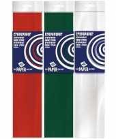 3x knutsel crepe vouw papier kerst kleuren 250 x 50 cm