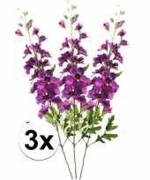 3x paarse ridderspoor 70 cm kunstplant takken