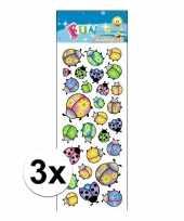 3x poezie album stickers lieveheersbeestje