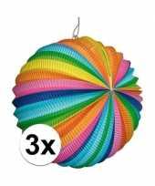 3x regenboog lampionnen rond