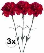 3x rode anjer 65 cm kunstplant steelbloem