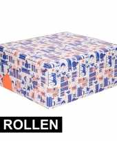 3x rol kadopapier blauw wit oranje van sinterklaas