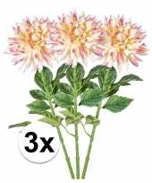 3x roze dahlia 70 cm kunstplant takken