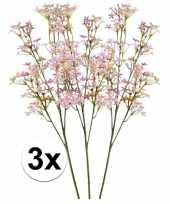 3x roze kroonkruid 68 cm kunstplant takken