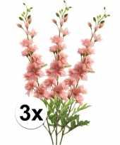 3x roze ridderspoor 70 cm kunstplant tak