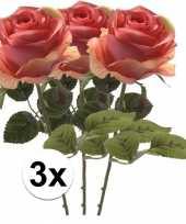 3x roze roos 45 cm kunstplant steelbloem