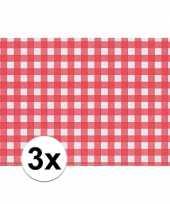 3x tafelmatje rood wit geblokt 43 x 30 cm