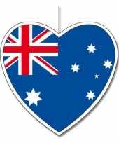 3x thema australie hangdecoratie hart 14 cm