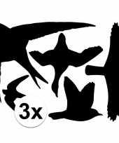 3x vogel bescherming raamstickers 33x33 cm