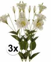 3x wit groene lisianthus 85 cm kunstplant takken