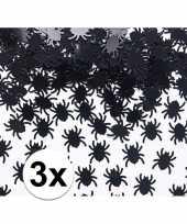 3x zwarte spin confetti 45 gram