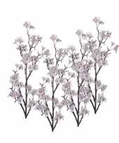 4 stuks decoratie witte appelbloesems tak