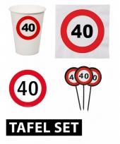 40ste verjaardag tafeldecoratie versiering pakket verkeersbord