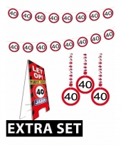 40ste verjaardag versiering pakket verkeersbord extra