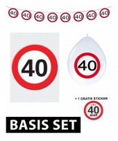 40ste verjaardag versiering verkeersbord stopbord basic