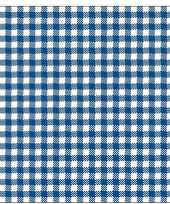 40x papieren servetjes blauw wit ruitjes print 33 x 33 cm
