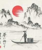 40x papieren servetjes met japan print 33 x 33 cm