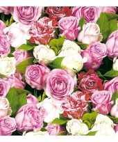 40x papieren servetjes rozen print 33 x 33 cm