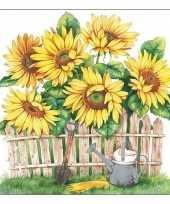 40x papieren servetjes zonnebloemen print 33 x 33 cm